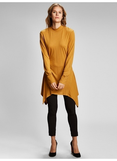 Vekem-Limited Edition Yarım Balıkçı Yaka Tunik Elbise Sarı